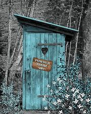 Teal Gray Vintage Outhouse Country Privy Powder Room Photo Art Print Matted