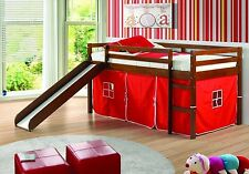 Kids Loft Beds with Slide & Red Tent