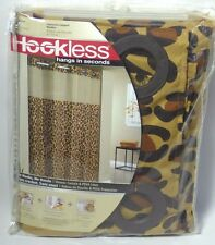 Hookless LEOPARD PRINT Mystery SHOWER CURTAIN with Liner New