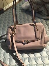 Coach Leather Small Madison Satchel 25169 Birch Beige Gray Gold Hardware Bag