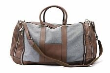 NWT$4745 Brunello Cucinelli Mens Cashmere-VWool & Leather Large Travel Logo Bag
