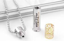 Stainless Steel Pendant  Cremation Memorial  Keepsake Urn With Ball Chain