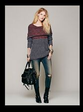 NWT Free People Engineered Cowl Neck Pullover Sweater Loose Gray Burgundy S M