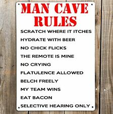 MAN CAVE RULES Funny Text Print On Metal Sign Bar Garage Den Bedroom Gift Plaque