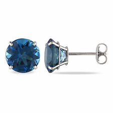 14k White Gold 5 ct Round London Blue Topaz Basket Solitaire Earrings