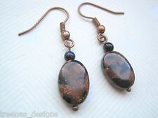 OVAL TAN & BLUE GOLDSTONE BEAD Sparkle Gemstone COPPER Drop Earrings Gift Bag