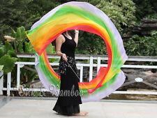 2pcs 2.3m*0.9m Rainbow silk dance veil poi, interchangeable chain,edges rolled
