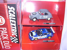 SCALEXTRIC A10170S300 PACK DUO PORSCHE 911 GT3  #2 VALLEJO-CITROEN 2CV  #319 MB
