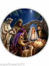 Christmas cake edible icing topper Nativity Scene decoration round