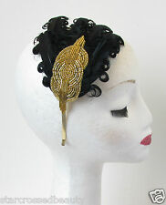 1920s Black Gold Feather Headpiece Flapper Headband Great Gatsby Vintage 30s Q57