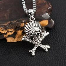 Cool Men's NF Stainless Steel Indian Head Skull Pendant Necklace 22""