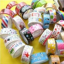 Lotto 10 Masking Tape Washi Nastro Adesivo Decorativo Colorato Per Bricolage