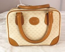 Authentic Vintage Gucci Monogram Ivory Leather Speedy Boston Bag Satchel - Italy