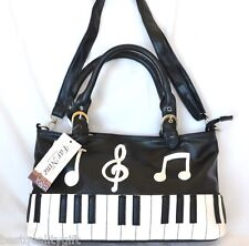 NEW BLACK+WHITE KEYBOARD+MUSIC NOTES+TREBLE CLEF CROSSBODY,HAND BAG