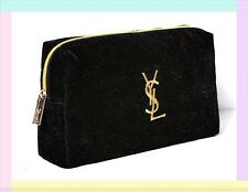 YSL Yves Saint Laurent Parfums Cosmetic Bag Pouch Black Chic Clutch New