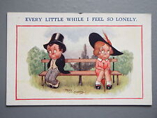 R&L Postcard: Comic, Children's, Reg Maurice, Shy Couple on Park Bench, Lonely
