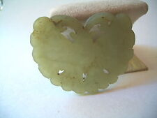 """CHINESE FINE CARVED GREEN JADE BUTTERFLY PENDANT 2 1/4"""" WIDE"""