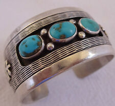 Signed Vintage NAVAJO Sterling Silver & TURQUOISE Cuff BRACELET Small Size Wrist