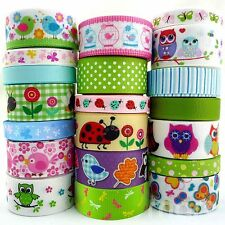 """20 Yards Cartoon Animals Grosgrain Ribbon Lots 3/8""""--1"""" Assorted 20 Styles Party"""