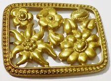 broche bijou vintage ancienne plaque couleur or fleurs gravées ajourées * 3614