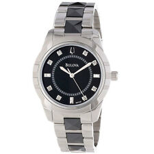 Bulova Women's 98P136 Diamond Dial Black and Silver Tone Stainless Steel Watch