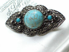VINTAGE JEWELLERY ART DECO CZECH FAUX TURQUOISE FILIGREE COSTUME BROOCH/PIN