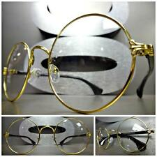Mens Women CLASSIC VINTAGE Style Clear Lens EYE GLASSES Round Gold & Black Frame