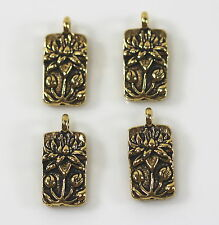 TierraCast Charms Floating Lotus Charm Antiqued Gold Plated Pewter Charms 4 Pcs.