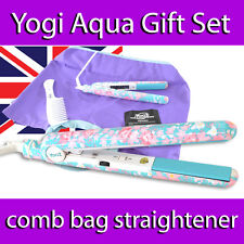 YOGI IONIC TOURMALINE HAIR STRAIGHTENER BEACH BAG COMB GIFT SET  AQUA  FLOWER