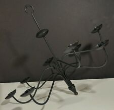 Hand Forged Black Wrought Iron Candle Chandelier USA Amish Made Farmhouse used