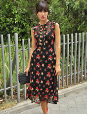 BNWT ZARA BLACK & RED FLORAL EMBROIDERED LACE MIDI SIZE S