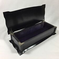 1925 GLOVE BOX EBONY & STERLING SILVER ANTIQUE VINTAGE WOODEN VANITY JEWELRY BOX