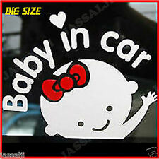 The Reflective Baby girl in car waving hands On Board Decal Sticker...