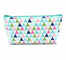 Cosmetic Bag, Zip Pouch, Makeup Bag, Pencil Case Travel Bag - Mint Triangles