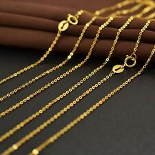 Authentic 18k Yellow Gold Necklace 1.1mm O Link Chain 17.5 inch L