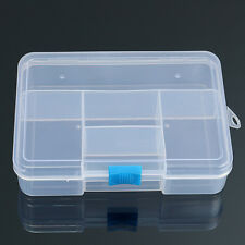 Plastic 5 Grid Compartments Jewellery Bead Organizer Box Storage Container Case