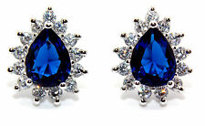 Sterling Silver Blue Sapphire And Diamond 2.98ct Pear Cut Stud Earrings (925)
