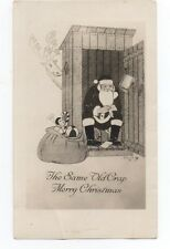 "1930s Photographic Christmas Card of Santa in Outhouse "" Same old Crap"" .."