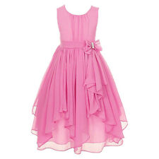 Kid Flower Girl Dress Princess Pageant Formal Party Wedding Tutu Irregular Gown