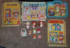 Lot of Vintage Dolly Pops Dolls Clothes Poptown Backgrounds Knickerbocker 1979