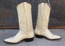 Black Jack Bone Ostrich Leather Cowgirl Cowboy Boots Ladies 6B  Made in USA