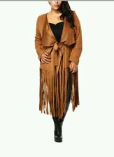 2x*Tan*faux leather*fringe jacket*NEW*Long sleeve*Lightweight*Tie front