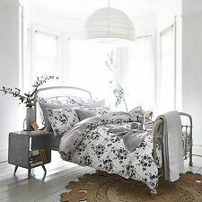 Blue or Grey Floral Bedding SPRIG 100% Cotton Duvet Cover Set / Cushion or Throw