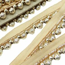 Decorative Beaded Ribbon Craft Supply 2.5 Cm Wide Fringes Trim By The Yard