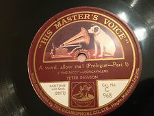 "PETER DAWSON ""A Word Allow Me!""/""A Song Of Tender Mem'ries""(Pagliacci) 78rpm 12"""