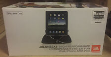JBL On Beat iPod iPhone iPad Dock Docking con Altoparlanti Nero Nuovo di Zecca