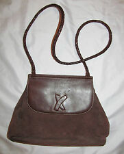 PALOMA PICASSO suede and leather saddle crossbody messenger vintage  bag