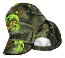 Born to Fish Forced to Work (Neon Green) Camo Camouflage Embroidered Cap Hat
