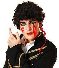 Nero Riccia Parrucca Stile Adam Ant Principe Affascinante anni'80 Pop Star Costume