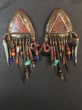TABRA Signed Shield Tribal Aztec Drop Dangle Earrings Rare Gorgeous
